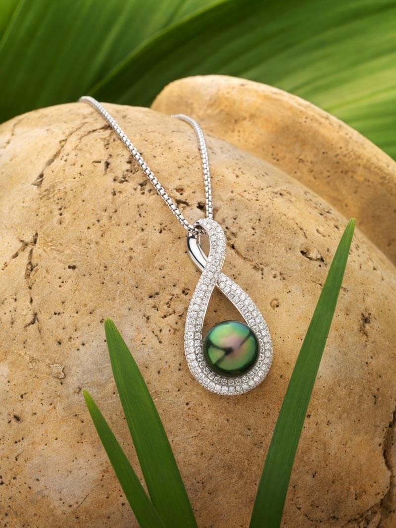 Pendentif en or blanc, diamants et Perle de Tahiti - Infinity