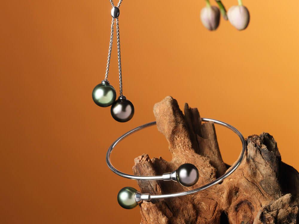 Collier et bracelet de perles de Tahiti - Toi et moi