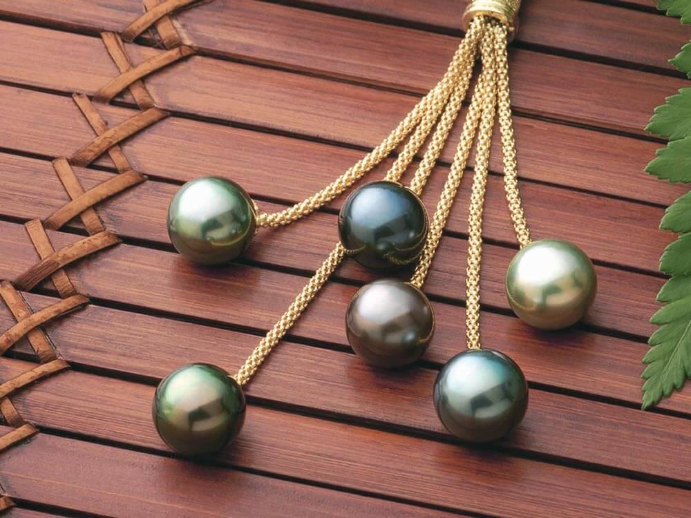 Black Pearl Earings - Tahitian cascade
