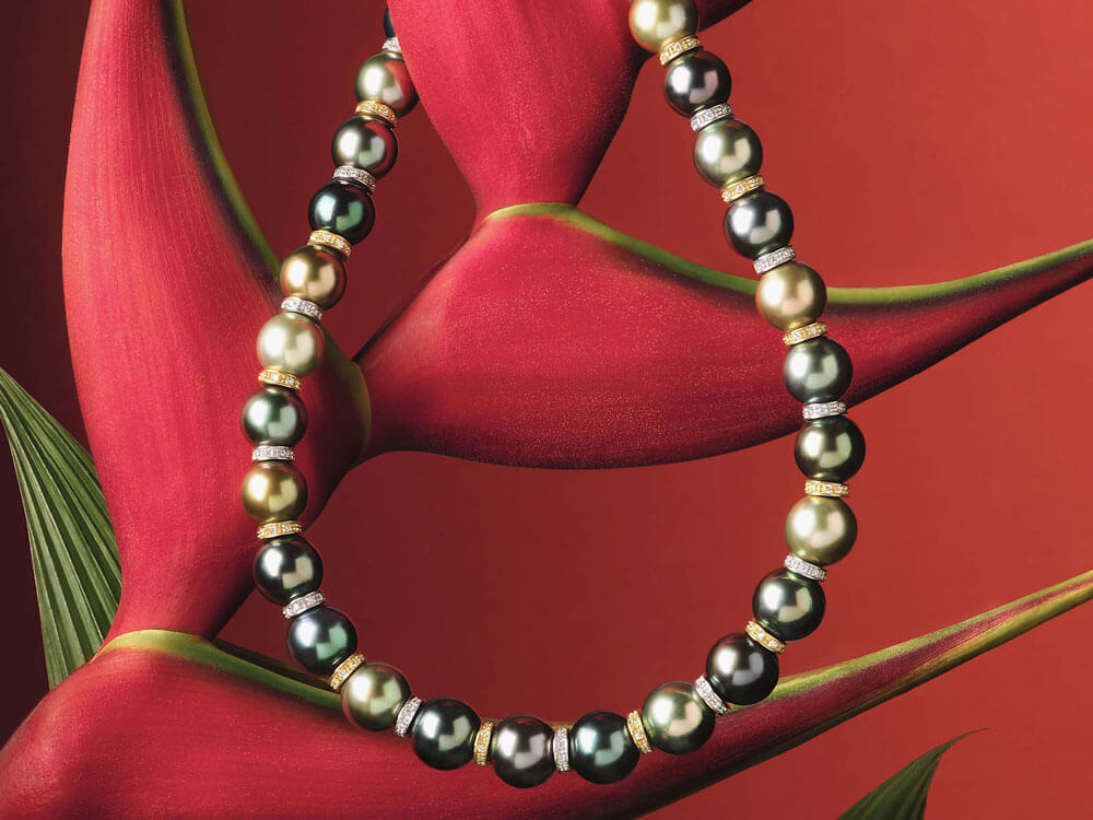 Tahitian Pearls Necklace - Heliconia