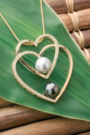 Tahitian Pearls with 18Kt yellow gold diamond double heart pendant