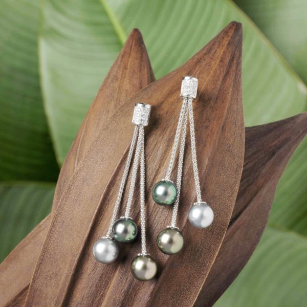 6 Tahitian Pearls diamond Earrings set in 18Kt white gold Also available in 18Kt yellow gold