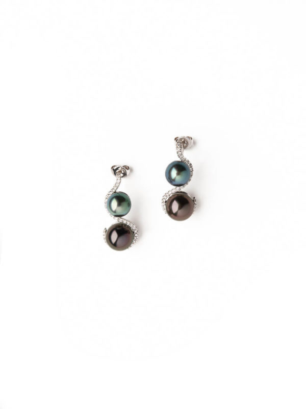 Women Earrings with black pearls - Nous Deux - Collection by Tahia Pearls