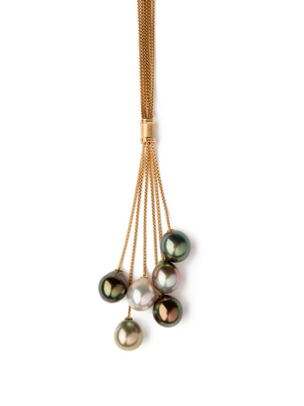 Necklace with multicolor Tahitian Pearls