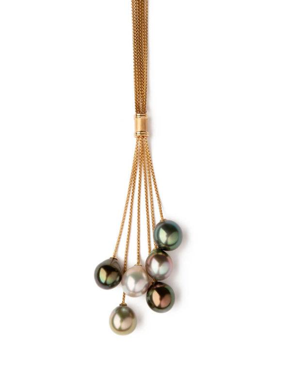 Collier aux perles de Tahiti multicolor
