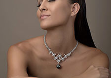 Collier en perle de Tahiti en or blanc 18 carats et diamants